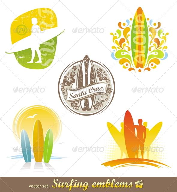 GraphicRiver Surfing Emblems & Labels 1722758