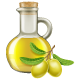 Olive Oil in a Jar with Green Olives.