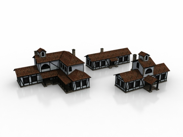 3x Low Poly Houses Set - 3DOcean Item for Sale