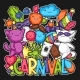Carnival Party Kawaii Print. Cute Cats