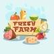 Natural Products Set Eco Fresh Farm Logo