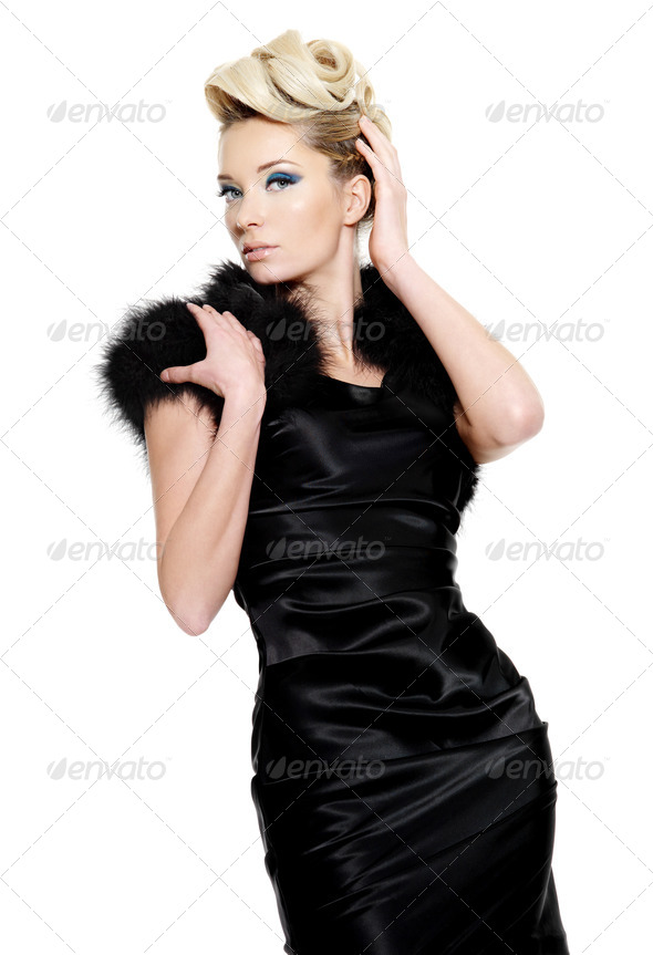 Sexy glamour woman in black dress - Stock Photo - Images