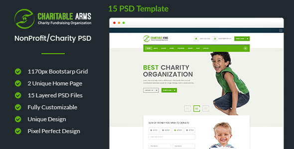 Charitable Arms - Nonprofit/Charity Organization PSD Theme