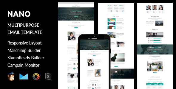 Download Nano - Multipurpose Responsive Email Template + Stampready Builder nulled download