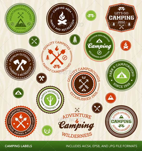 Retro Camping Labels - Decorative Symbols Decorative