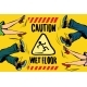 Caution Wet Floor, Feet Of Women And Men