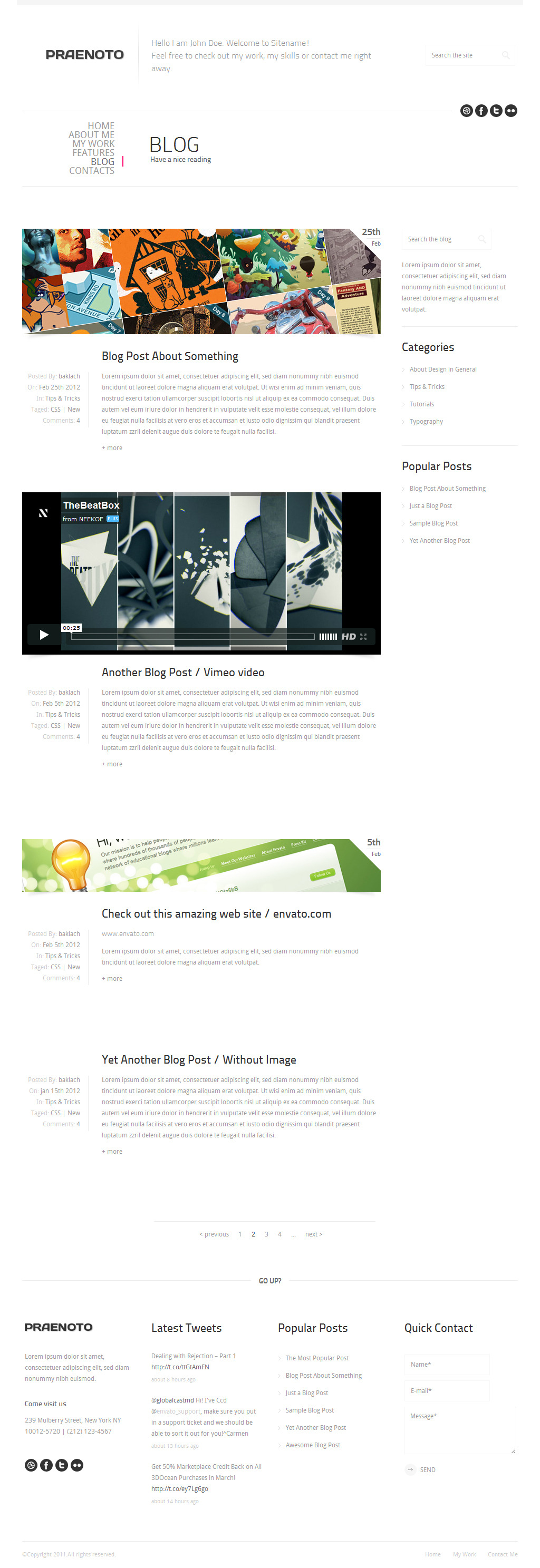 Praenoto - Clean & Minimalist Web Site Template - Screenshot 2. Blog page.