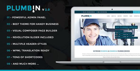 Plumbin - Plumbing Handy Business WordPress Theme