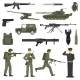 Military Army Khaki Color  Icons Collecton