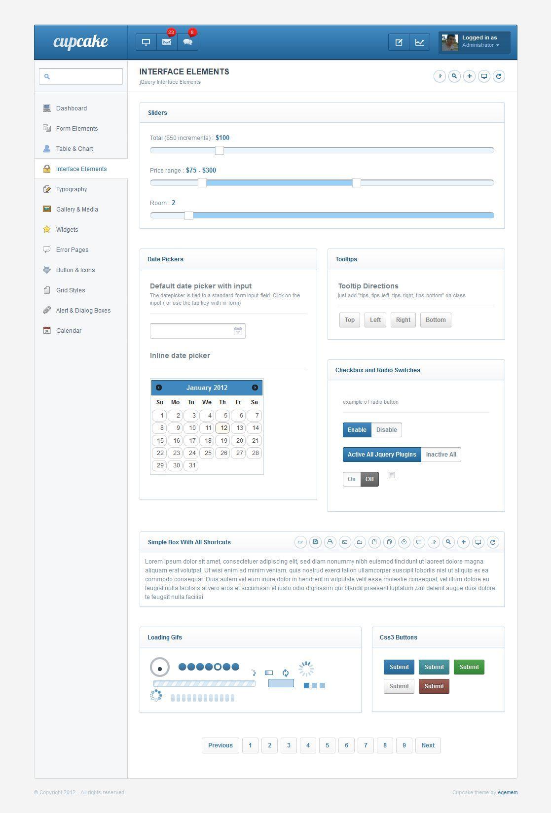 Cupcake - Premium Admin Template  + Mobile Theme