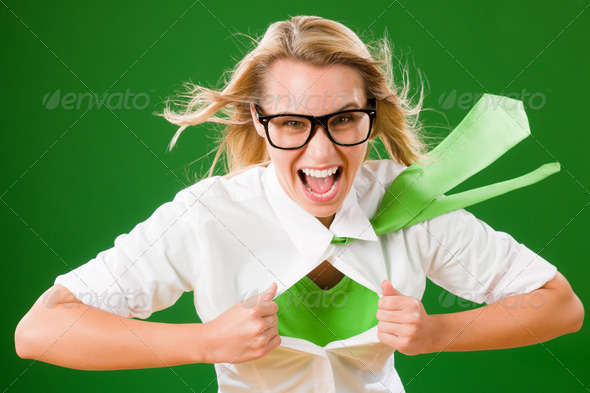 PhotoDune Green Superhero Businesswoman crazy face 1725578