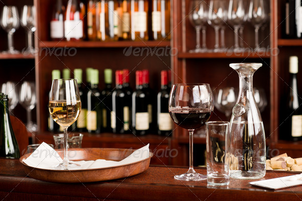 Wine bar tasting set up tray decoration - Stock Photo - Images
