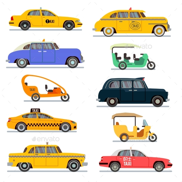 World Famous Taxi Cars Vector Set