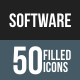 Software Development Flat Round Corner Icons