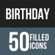 Birthday Flat Round Corner Icons