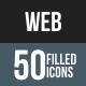 Web Flat Round Corner Icons