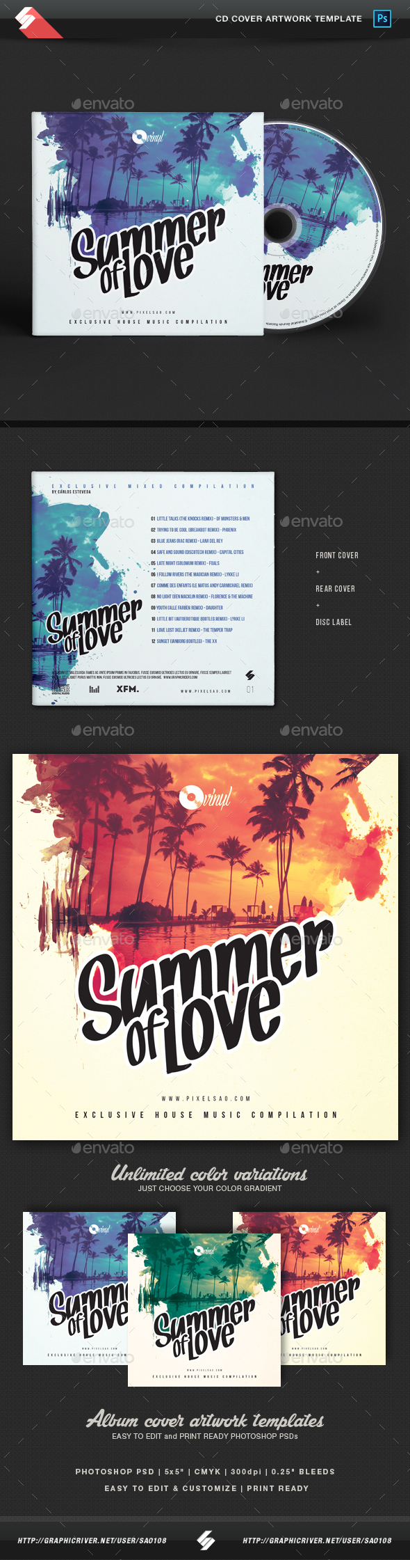 Summer Of Love - CD Cover Artwork Template