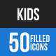 Kids Blue & Black Icons