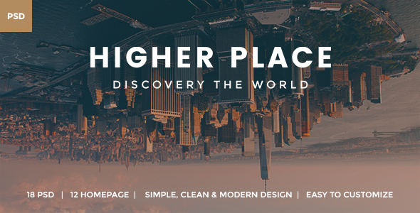 Higher Place - Travel Minimalist Blog PSD Template