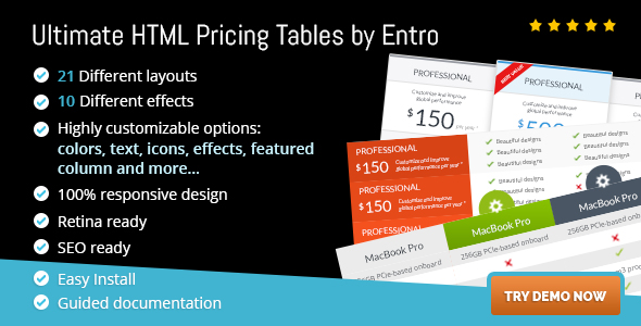 Ultimate HTML Pricing Tables by Entro - CodeCanyon Item for Sale