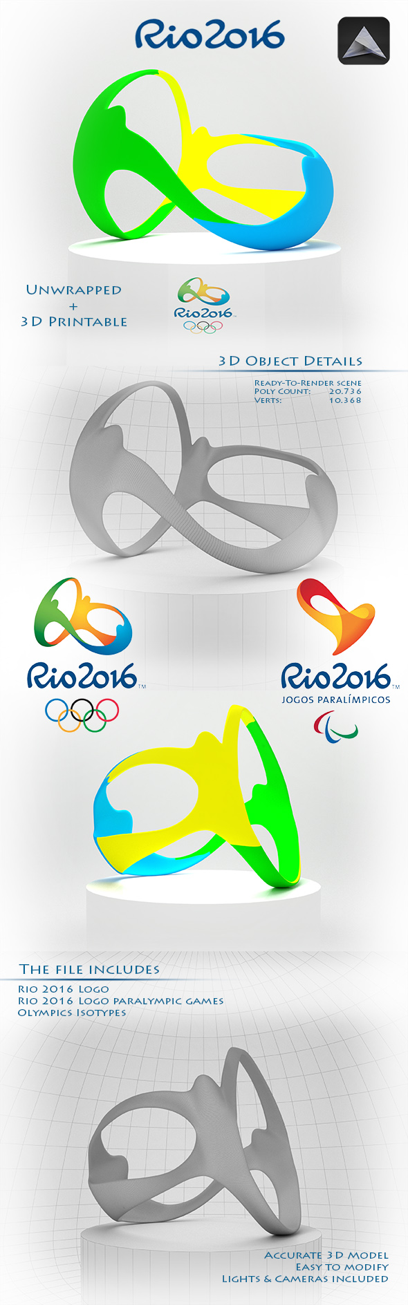 Rio 2016 Olympic Games Logo - 3DOcean Item for Sale