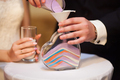 Sand ceremony on wedding, glass vase for bride and groom