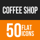 Coffee Shop Flat Round Icons