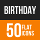 Birthday Flat Round Icons