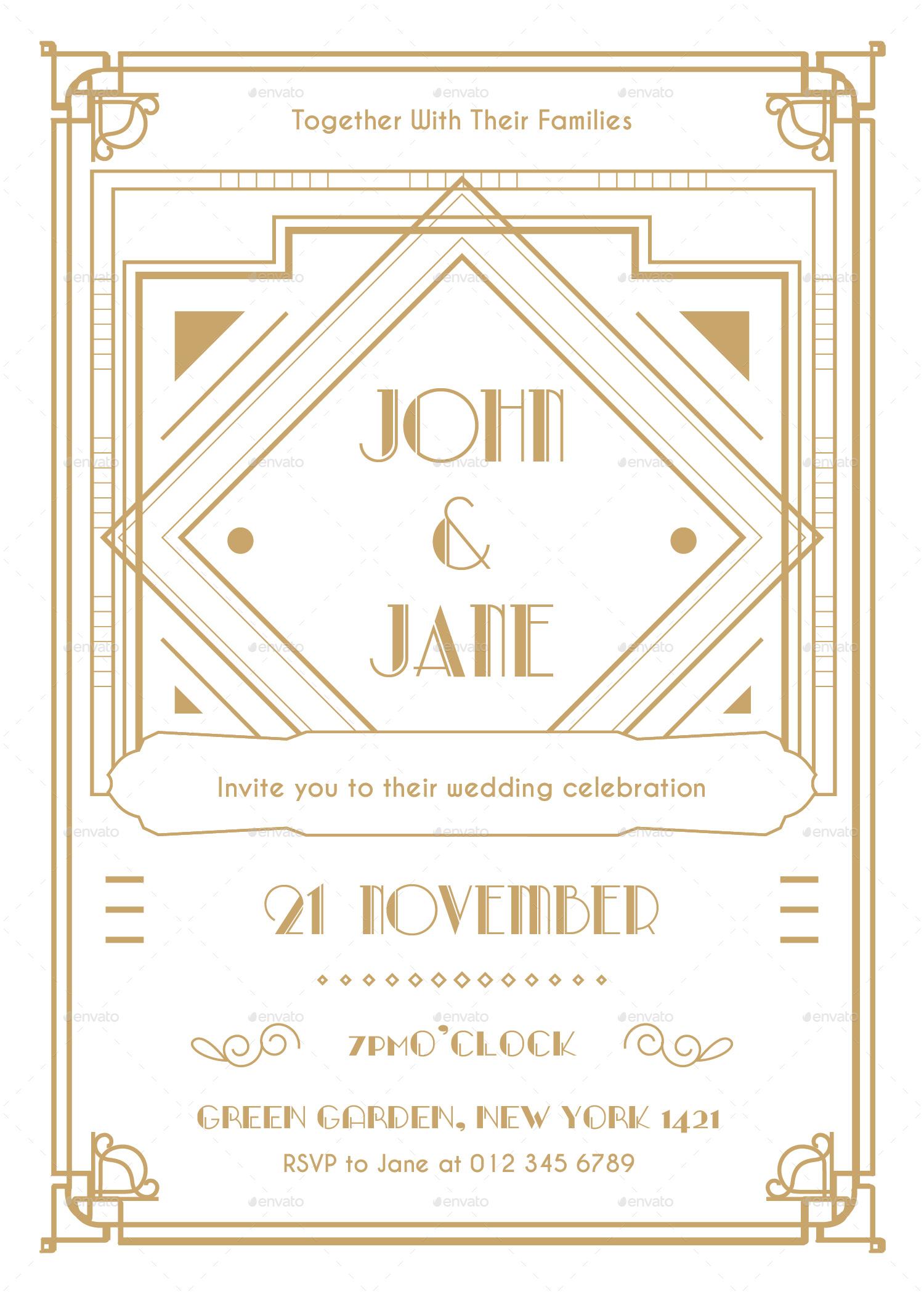 art deco wedding invitation by infinite78910 | graphicriver, Wedding invitations