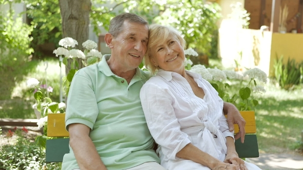 Download Elderly Couple Sitting on a Bench in an Embrace. nulled download
