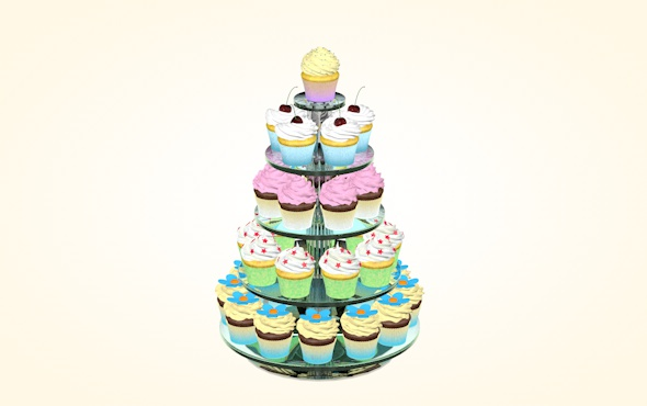 Glass stand with cupcakes - 3DOcean Item for Sale