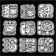 Maya Glyphs, Writing System and Languge Vector Design on Black Background