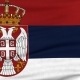 National Flag Of Serbia Flying On The Wind