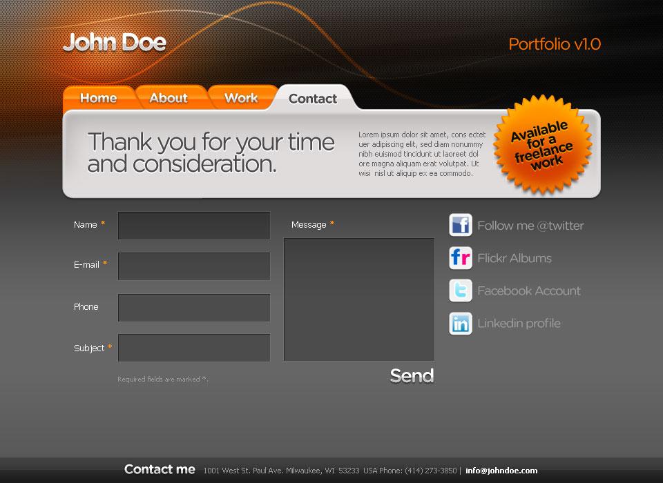 Web Designer Portfolio HTML+CSS+PSD