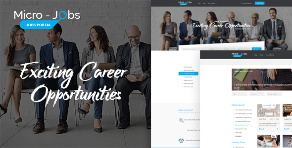 Micro Jobs - Jobs Portal PSD Template