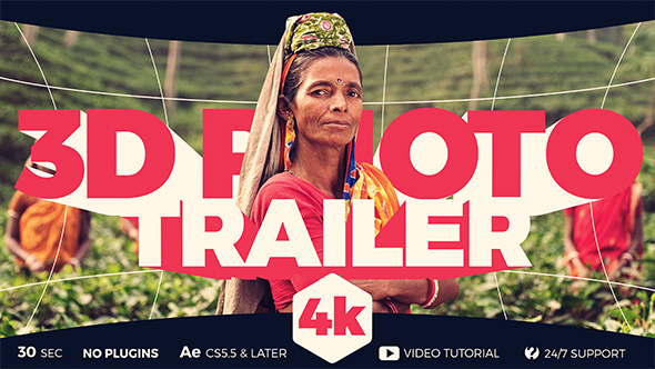 3D Photo Trailer 主題圖片三維變-Videohive中文最全的AE After Effects素材分享平台