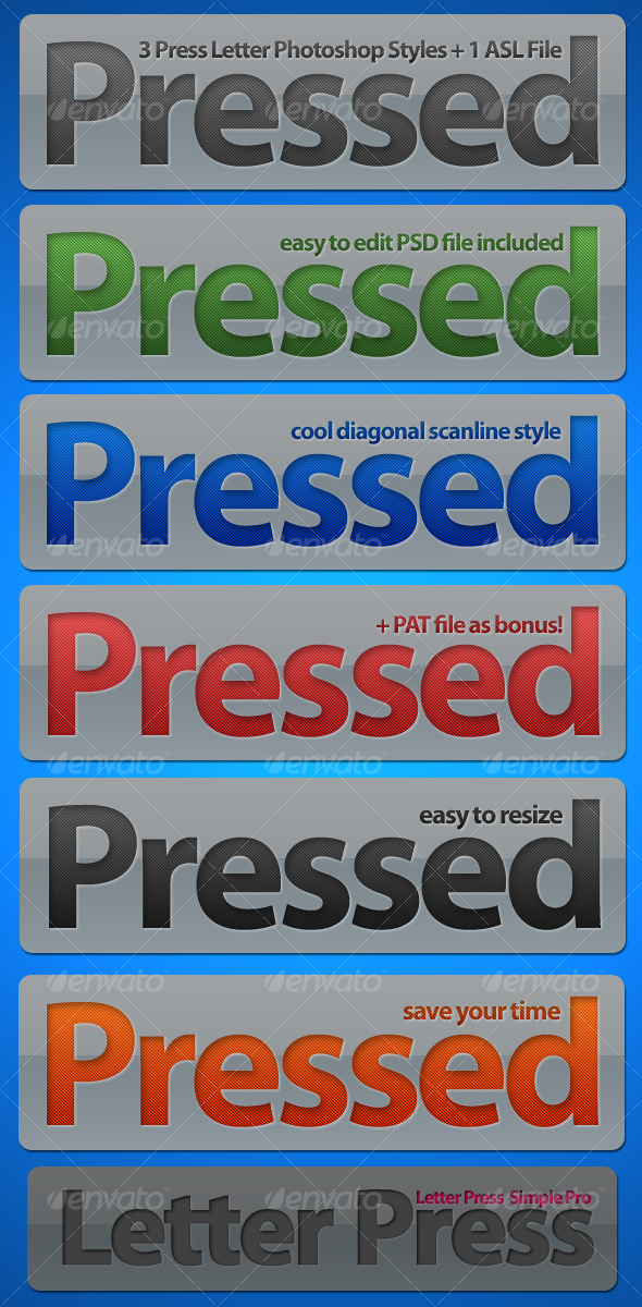 Letter Press Photoshop Styles - Text Effects Styles