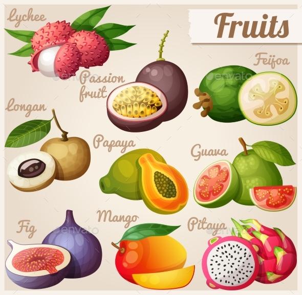Set Of Cartoon Food Icons. Exotic Fruits. Lychee