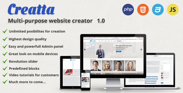 CodeCanyon Creatta multipurpose website creator 17402375