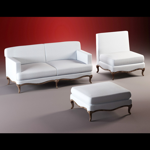 3DOcean Quality model of classic set sofa chair ottoman 1731939