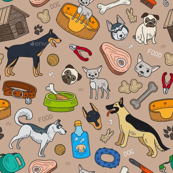 Seamless Pattern With Cute Dog