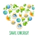 Download Vector Renewable Energy Symbols Shaped As Heart