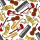 Musical Instruments, Treble Clefs Seamless Pattern
