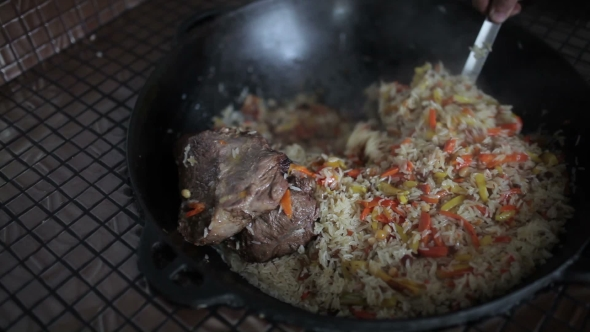 Download Rice With Vegetables And Lamb Stirred Kettle. nulled download