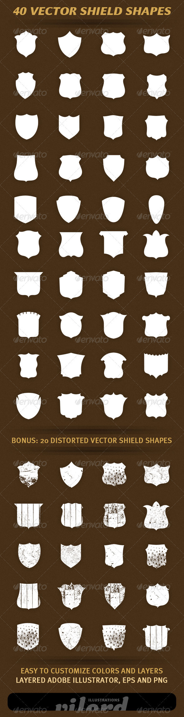 GraphicRiver 40 Vector Shield Shapes 1732596