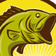 Largemouth Bass Fish Retro