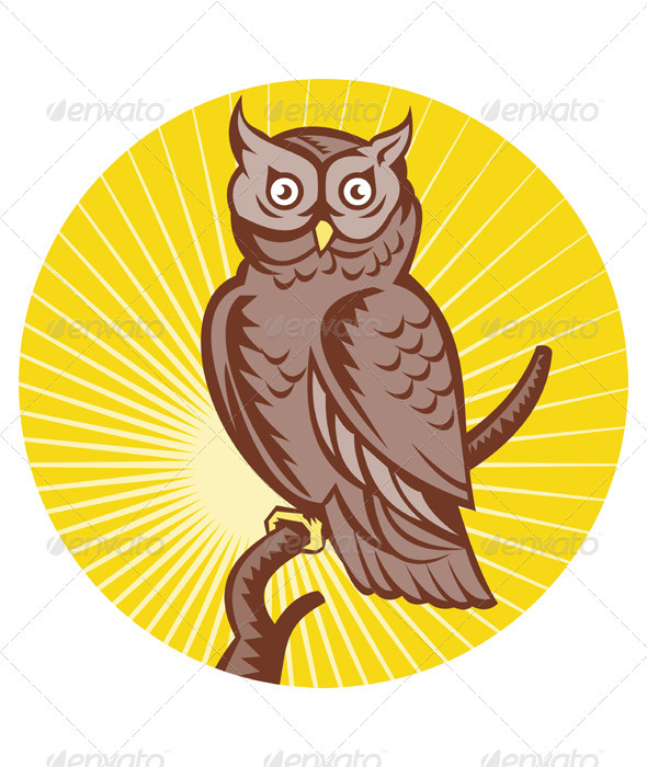 Great Horned Owl Front View Woodcut Style