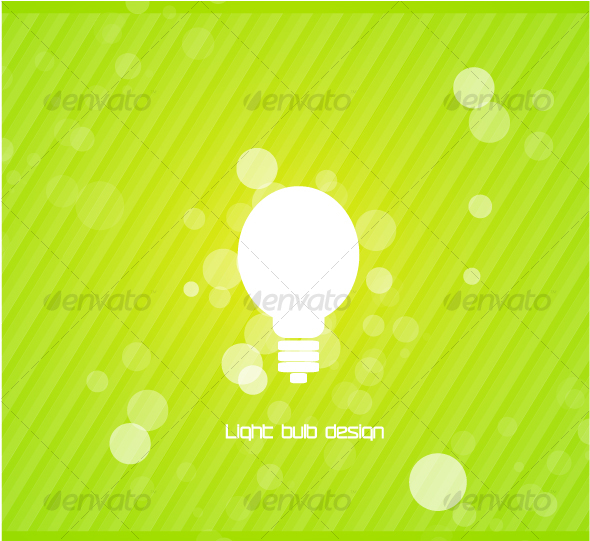 White light bulb silhouette on green background - Technology Conceptual