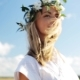 Smiling Young Woman In Wreath Of Flowers Outdoors 55