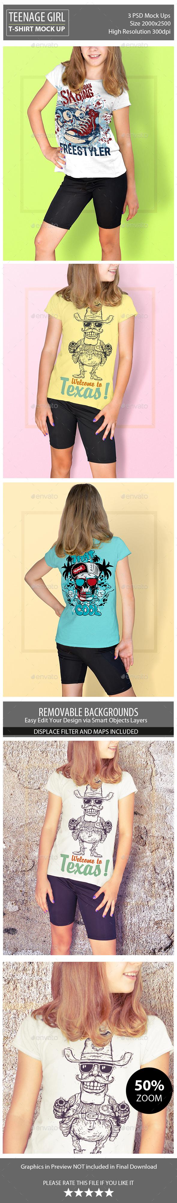 Teenage Girl T-Shirt Mock Up